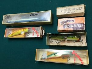 5 vintage lures n Boxes classic sport bass fishing tackle bomber creek chub