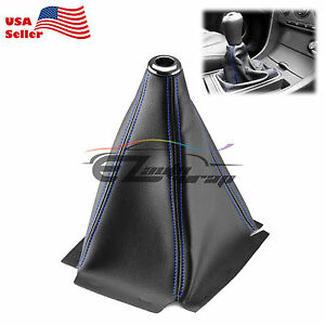 Shift Knob Shifter Boot Cover Black With Blue Stitches PVC Leather MT AT Sport $8.88