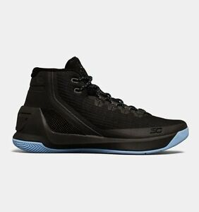 UNDER ARMOUR UA Kids Boys Curry 3 Basketball Shoes Sneakers Black Carolina Blue
