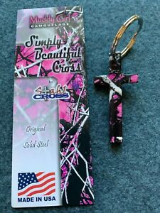 Pink Camouflage Cross Key Chain with a FREE St. Hubert Prayer Card