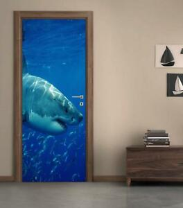 Great White Shark DOOR WRAP Removable Decal Wall Sticker Mural Ocean Fish D167