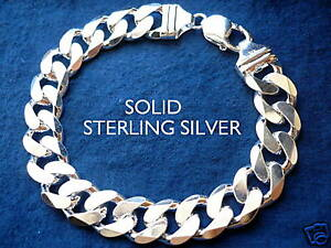 13MM 925 STERLING SILVER MEN'S CUBAN LINK BRACELET choice of length 8
