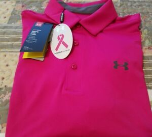 Under Armour Mens Heat Gear Polo Shirt *XL  Loose* NWT *Power In  Pink*