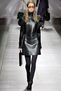 50000 $ RUNWAY KARL LAGERFELD FOR FENDI CROCODILE ASTRAKAN FUR DRESS 34 FR 38 IT