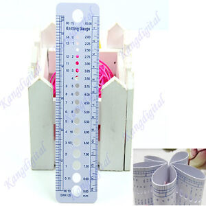 UK US Canada Gauge Inch cm Ruler Tool All In One Knitting Needle Sizes New