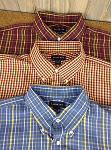 Lands' End Tall 17 12 x 37 Check Dress Shirt LOT OF 3  DRY CLEAN Tailored Fit