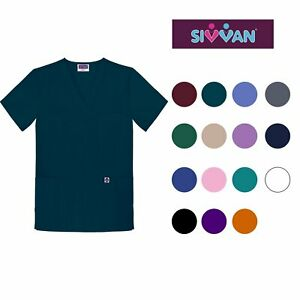 Sivvan Unisex Scrubs V Neck 3 Pocket Top Available in 12 Colors