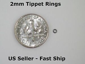 2mm Tippet Rings Dry Wet Nymph Fly Fishing Leader Tippet Ring Black Free Ship $7.99