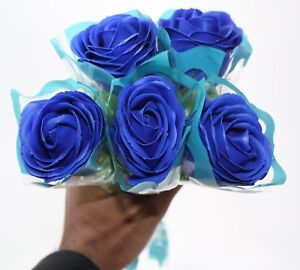 Set of 5 Blue Rose Flower Scented Shaped Perfumed Soaps Mothers Day Gift $7.99