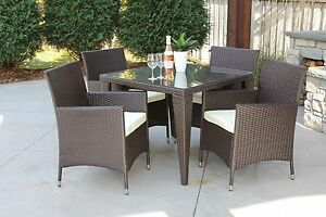 Wicker Outdoor Dining Set Square 5pc Table Topped With Tempered Glass New