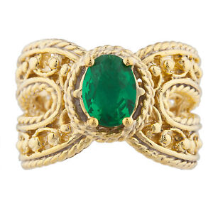 14Kt Yellow Gold Plated Emerald Oval Cocktail Design Ring