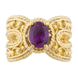 14Kt Yellow Gold Plated Alexandrite Oval Cocktail Design Ring