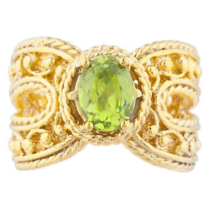 14Kt Yellow Gold Plated Peridot Oval Cocktail Design Ring