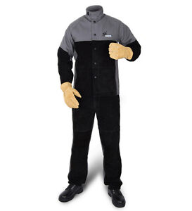 FR Split Cow Leather Welding Jackets Flame Retardant Welder Clothing Arc Knight