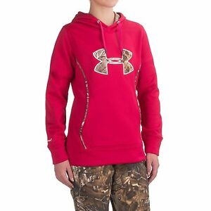 $65 Under Armour STORM Caliber Women's Big Logo Hoodie Fury Camo size L