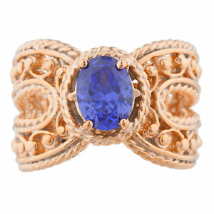 14Kt Rose Gold Plated Tanzanite Oval Cocktail Design Ring