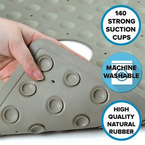 Tan Safety Shower Mat: In-Tub Mildew Resistant Suction Cup Rubber Shower Mat