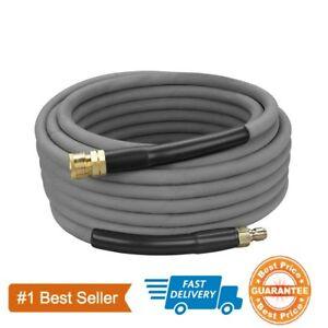 50#x27; Pressure Washer Hose Non Marking 4000 PSI 50 ft. Length Gray With Couplers $57.99