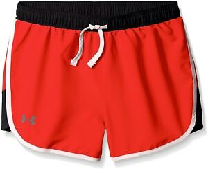 Under Armour Girls' Fast Lane Shorts After BurnStealth Gray Youth Large