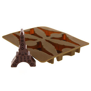 Elbee 6-Piece Silicone Eiffel Tower Tray for Making Ice, Candy, Chocolate, Jello
