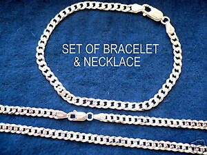 4mm 925 STERLING SILVER MEN'S CUBAN LINK NECKLACE(CHAIN) & BRACELET SET