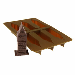Elbee 6-Piece Silicone Big Ben Tray for Making Ice, Candy, Chocolate, Jello