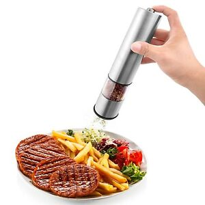 Black & White or Stainless Steel Finish Salt & Pepper Mill/Grinder Set Automatic