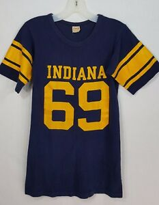 Vintage Champion Running Man 60's T-Shirt Indiana Football Jersey #69 Size S USA