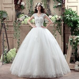 Cap Sleeve V-neck Ball Gown Wedding Dress 2017 Cheap Under $50 Plus Size Dresses
