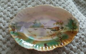 Vintage painted  bowl Germany lusterware water mountain nature birds scenic Dish