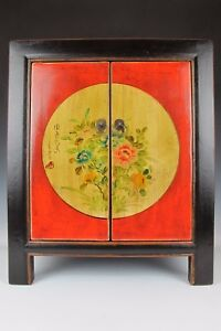 A Chinese Antique red black cabinet closet shelves flowers pattern design style