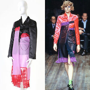 runway COMME DES GARCONS AW01 Beyond Taboo blazer jacket lingerie hybrid dress S