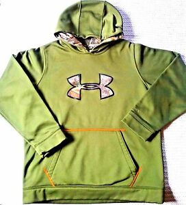 Under Armour Youth Boys Icon Logo Caliber Hoodie Green Real Tree Camo Size XL