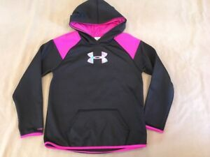 Under Armour Youth Large Pullover Hoodie Sweatshirt Girls Shiny Big Logo Black