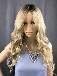 Fashion Curly Hairstyle Dark roots to Blonde 100% Indian Human Hair capless Wigs