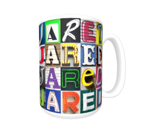 JARED Coffee Mug / Cup featuring the name in photos of sign letters