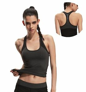 J-pinno Womens Dry Fitness Athletic Tank Top Shirts with Padded Built In Bra for