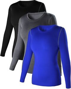 Womens 3 Pack Dry Fit Athletic Compression Long Sleeve T Shirt US LAsia XL 3