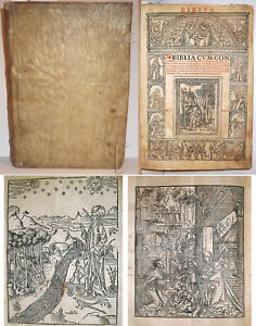 1527 ANTIQUE 16th C SIGNED SPANISH INQUISITOR'S WOODCUT HOLY BIBLE 1ST-ED 1611