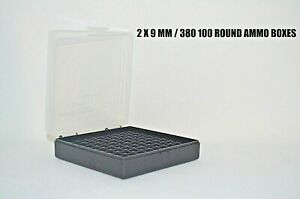 BERRY'S (2) PLASTIC STORAGE AMMO BOX CLEAR COLOR 9MM  380 ACP 100 rd