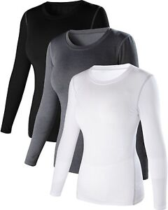 Womens 3 Pack Dry Fit Athletic Compression Long Sleeve T Shirt US SAsia M 3p