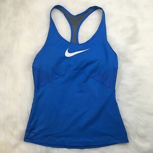 Nike Womens Size S Athletic Tank Blue Racerback Bra Workout Shirt Dry Fit A077