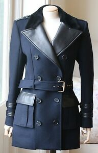 BALMAIN FUR-TRIMMED DOUBLE-BREASTED BELTED WOOL AND CASHMERE COAT FR 36 UK 8