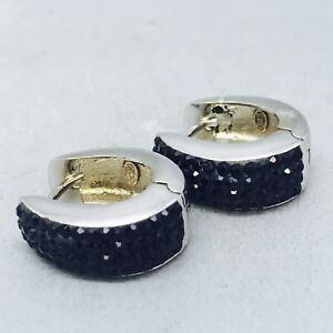 BEAUTIFUL 925 STERLING SILVER BLACK STONE SET CUFF EARRINGSCOCKTAIL PARTY B321