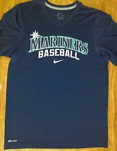 Nike ~ Dri-Fit ~Baseball ~ Seattle MARINERS Team ~ Blue shirt~ Size Small ~ MLB