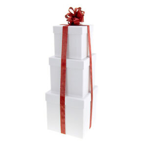Holiday Square Nested Gift Boxes, 5, 6 and 7-Inch, 3-Piece