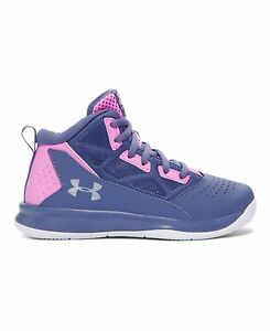 Under Armour 1274070-767 Girls Pre-School UA Jet Mid Basketball Shoes 2 AURORA
