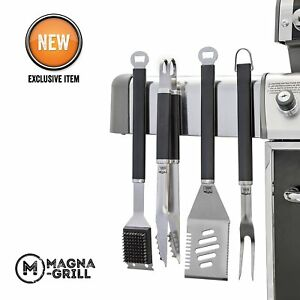 Magnetic 4 Piece Grill Tools Set For BBQ, Tailgate  - Magna-Grill by Yukon Glory