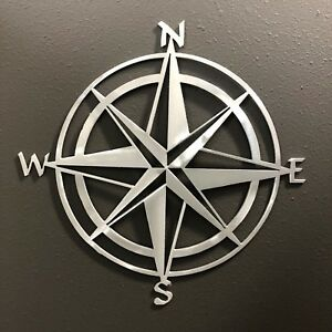 Compass Rose 12quot; ALUMINUM Metal Wall Art Skilwex 12 x 12 Ocean Nautical Beach $24.99