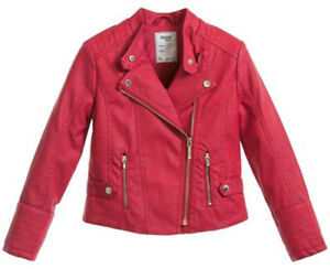 Mayoral Girls Synthetic Leather Biker Red Jacket